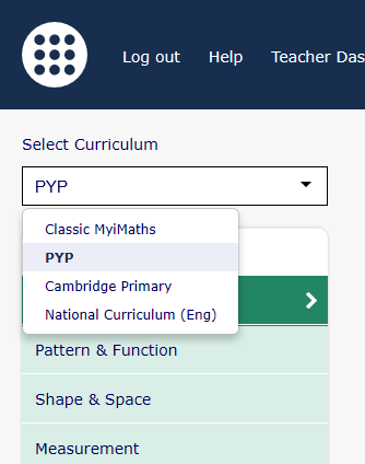 Primary MyiMaths – Curriculum Filter