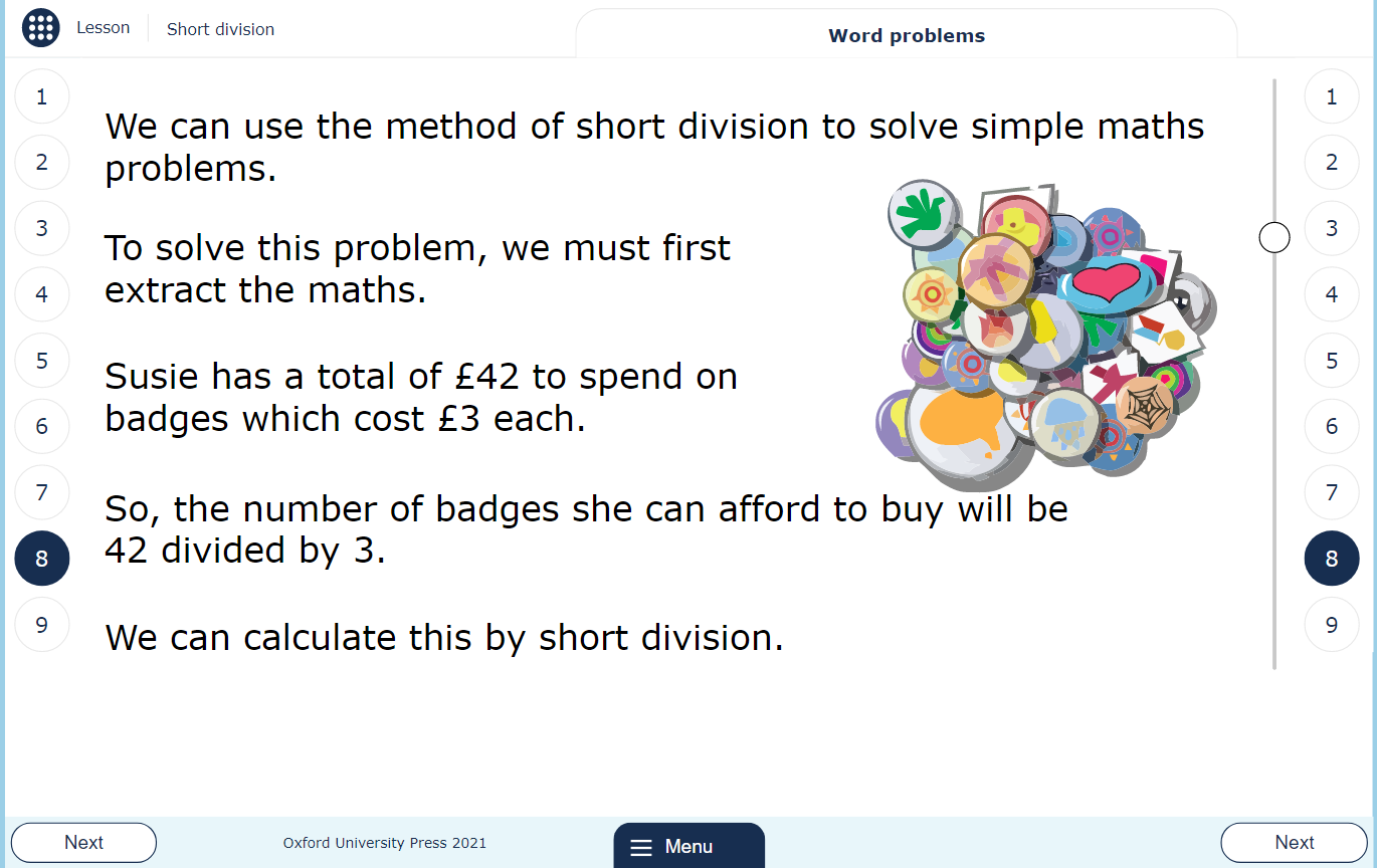 Primary MyMaths Short Division lesson